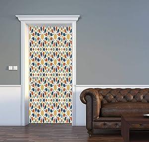 "3D Door Decal Traditional Muslim Ceramic Mosaic Tile Seamless Pattern with Entwined Door Stickers Removable Adhesive PVC Door Wall Mural Door Wallpaper Door Art for Home Decor 30.3"" W x 78.7"" H"