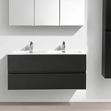 Meuble Salle de Bain Design Double Vasque Siena Largeur 120 cm Chêne Noir