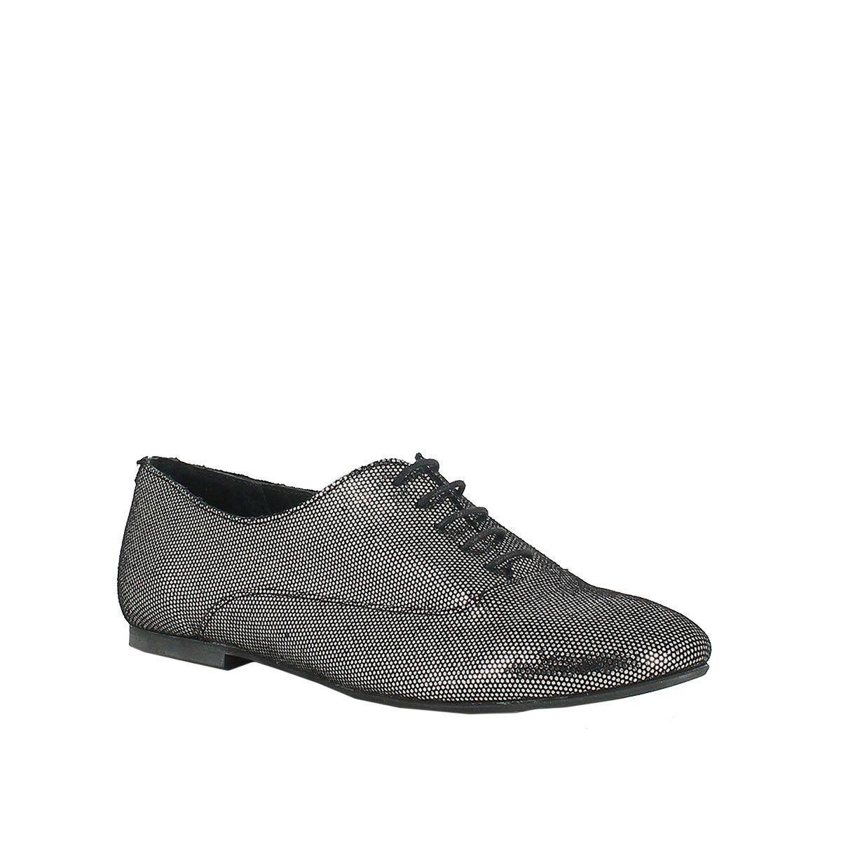 JONAK Womens Metallic Leather Brogues Grey Size 37