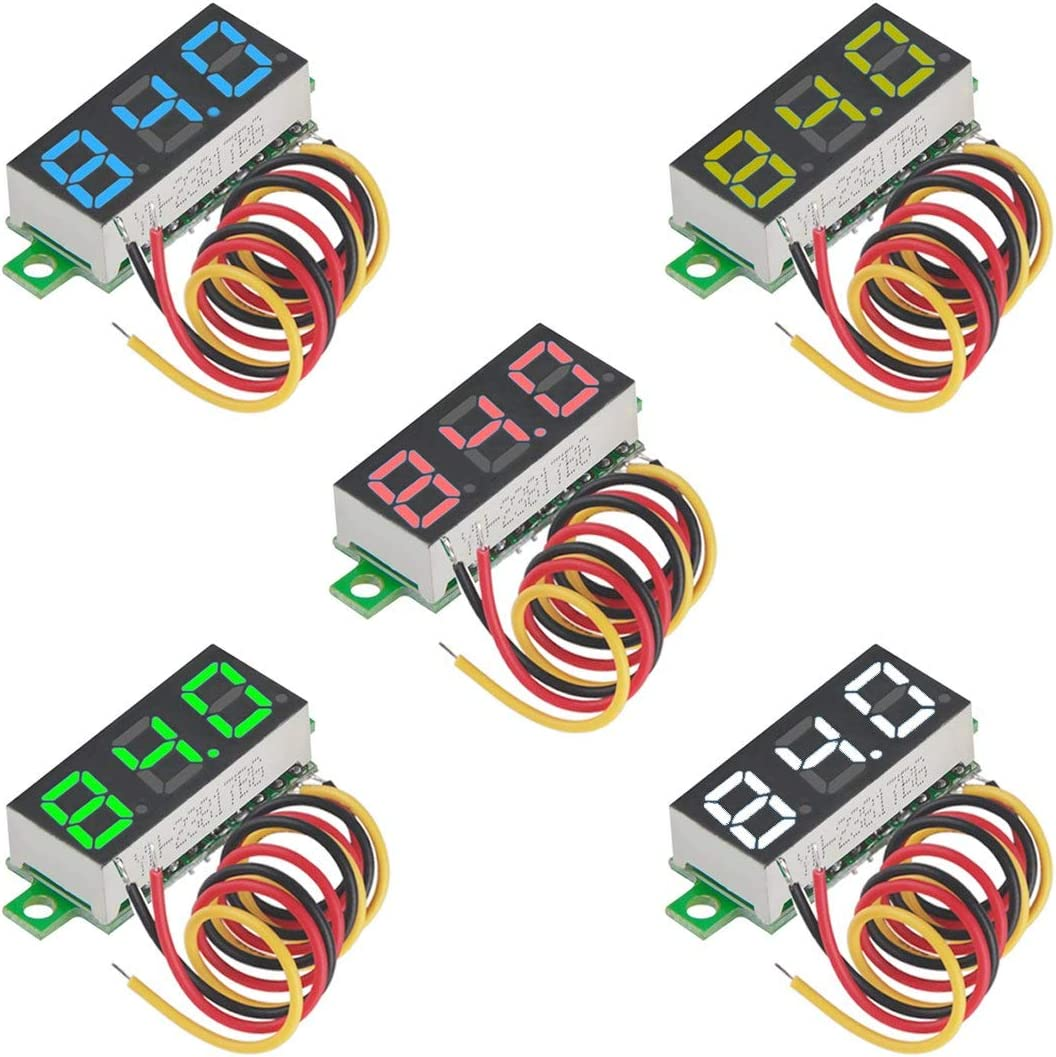 MakerHawk 5pcs Mini voltímetro Digital DC 0.28 Pulgadas Tres líneas DC 0-100V Mini probador de Voltaje Pantalla LED Protección de polaridad inversa y medición de presión precisa 5 Colores