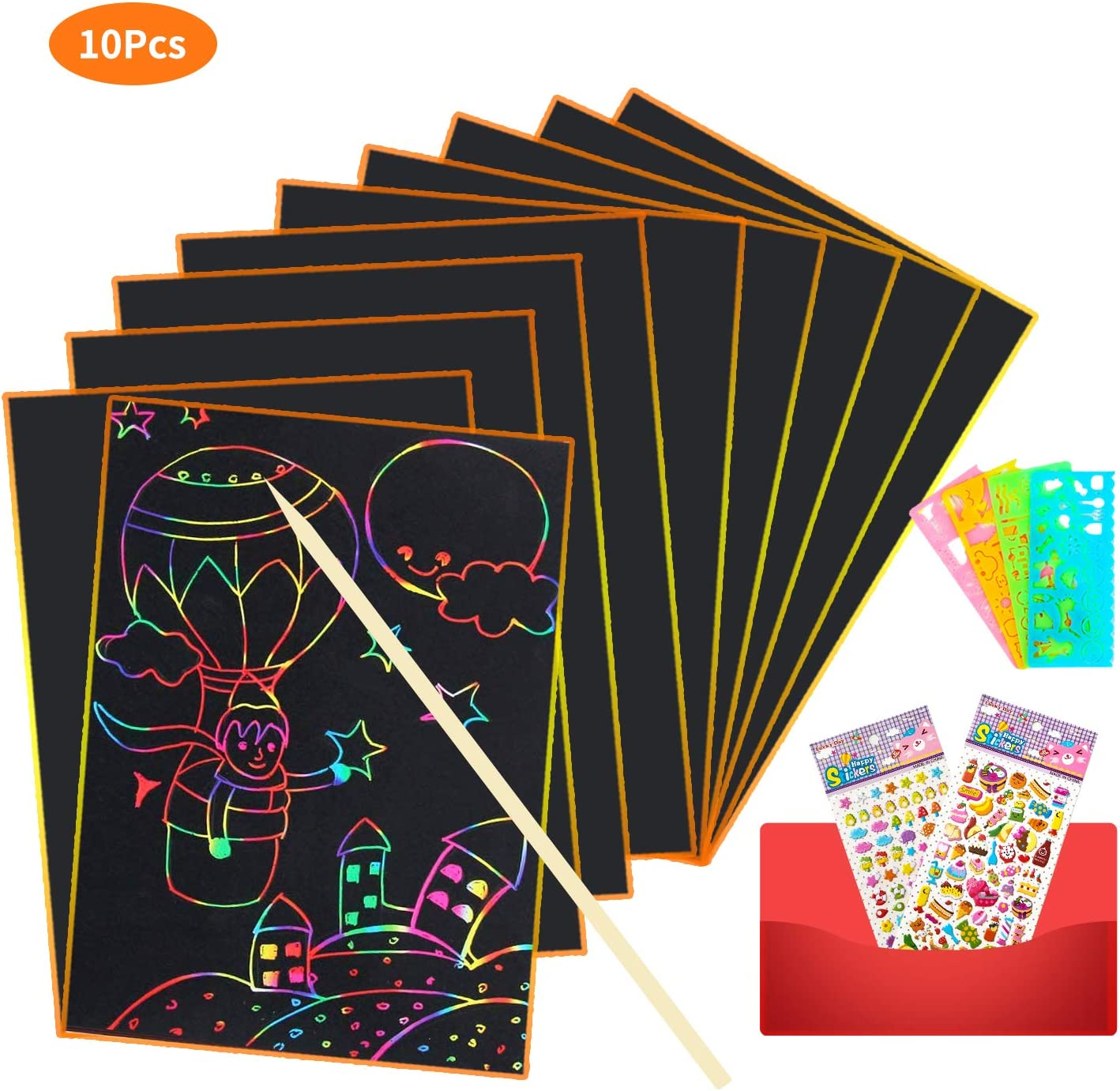 OtRainbow Scratch Art Set 10 Mini Pcs Rainbow Magic Scratch Paper for Kids Black Scratch Off Art Crafts Notes Boards Sheet with 1 Wooden Stylus for Festival Party Game Christmas Birthday Gift