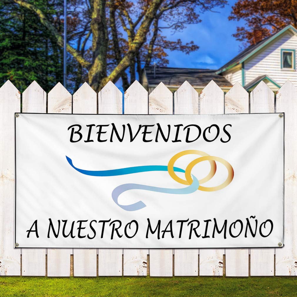 6 Grommets Set of 2 32inx80in Vinyl Banner Sign Bienvenidos A Nuestro White Black Outdoor Marketing Advertising White Multiple Sizes Available