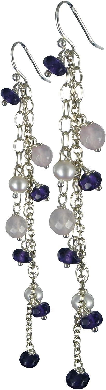 Jane Davis JDJMS012 - Pendientes de mujer de plata de ley con 14 amatistas y cuarzos y perla de agua dulce de china (4 perlas)