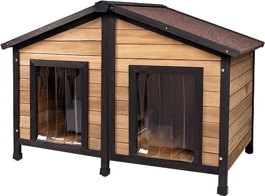ELIGHTRY Caseta de Perros para Exterior Casa para Perros Madera Jaula para 2 Perros Gatos Animales pequeños para Jardin Impermeable con Cortinas 110x67x80cm XGL0001hbsz: Amazon.es: Productos para mascotas