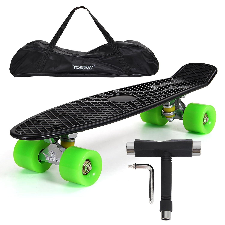 UPGRADE VERSION Yorbay monopatín skateboard retro con la bolsa y T herramientas
