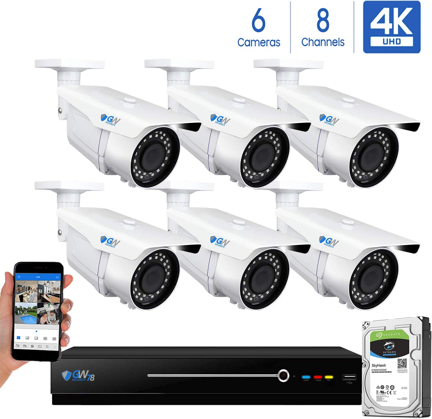 GW 8 Channel 4K NVR 8MP 3840×2160 H.265 PoE Security Camera System – 6 x UltraHD 4K 2.7 13.5mm Varifocal Zoom 196ft IR 2160p IP Cameras – 8 Megapixel Four Times The Resolution of 1080p Full HD