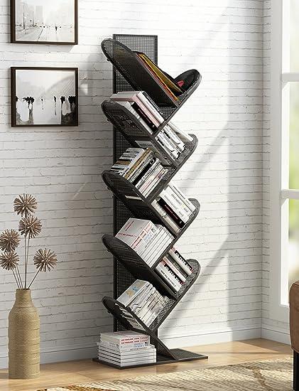 Tribesigns 8 Shelf Tree Shaped Bookshelf Metal Bookcase Display Shelves Storage Rack For