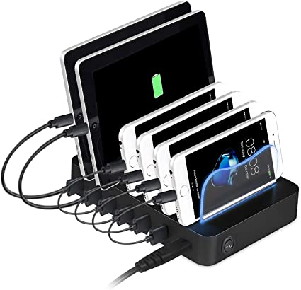 Estación de carga USB, PRITEK 6 puertos Cargador universal para ...