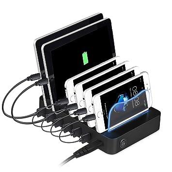 Estación de carga USB, PRITEK 6 puertos Cargador universal para múltiples dispositivos Teléfonos tabletas 50W 5V / 10A Estación de acoplamiento para ...