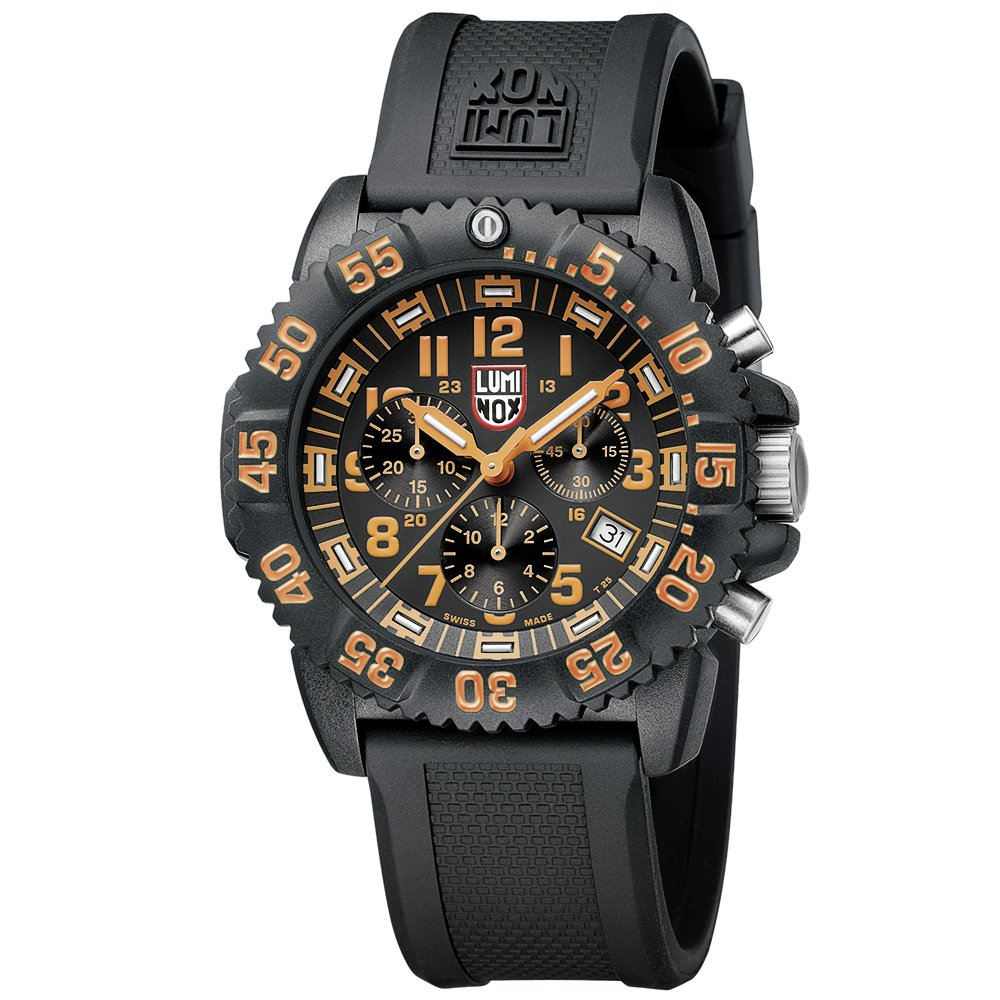 Luminox Men's 3089 Navy Seal Colormark Chronograph 3080 Series Black Chronograph Rubber Band, Orange Accents Watch by Luminox (Image #2)
