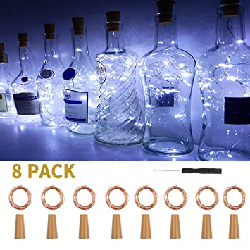 Justech 8PCS Luces de Botellas de Vino con Corcho 2M 20 Leds Luces ...