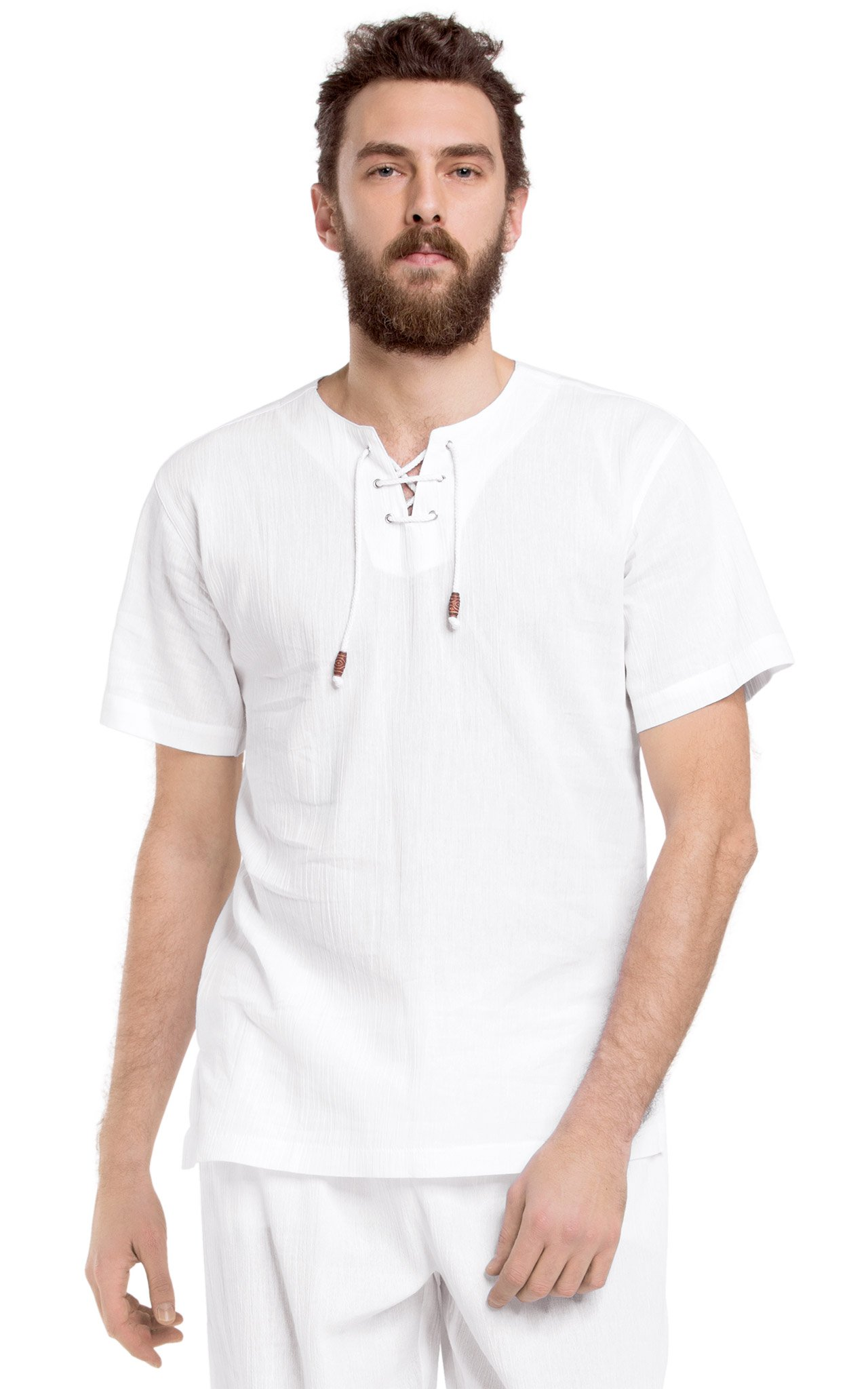 White by Nature Men's Lace up Short Sleeve Cotton T-Shirt M