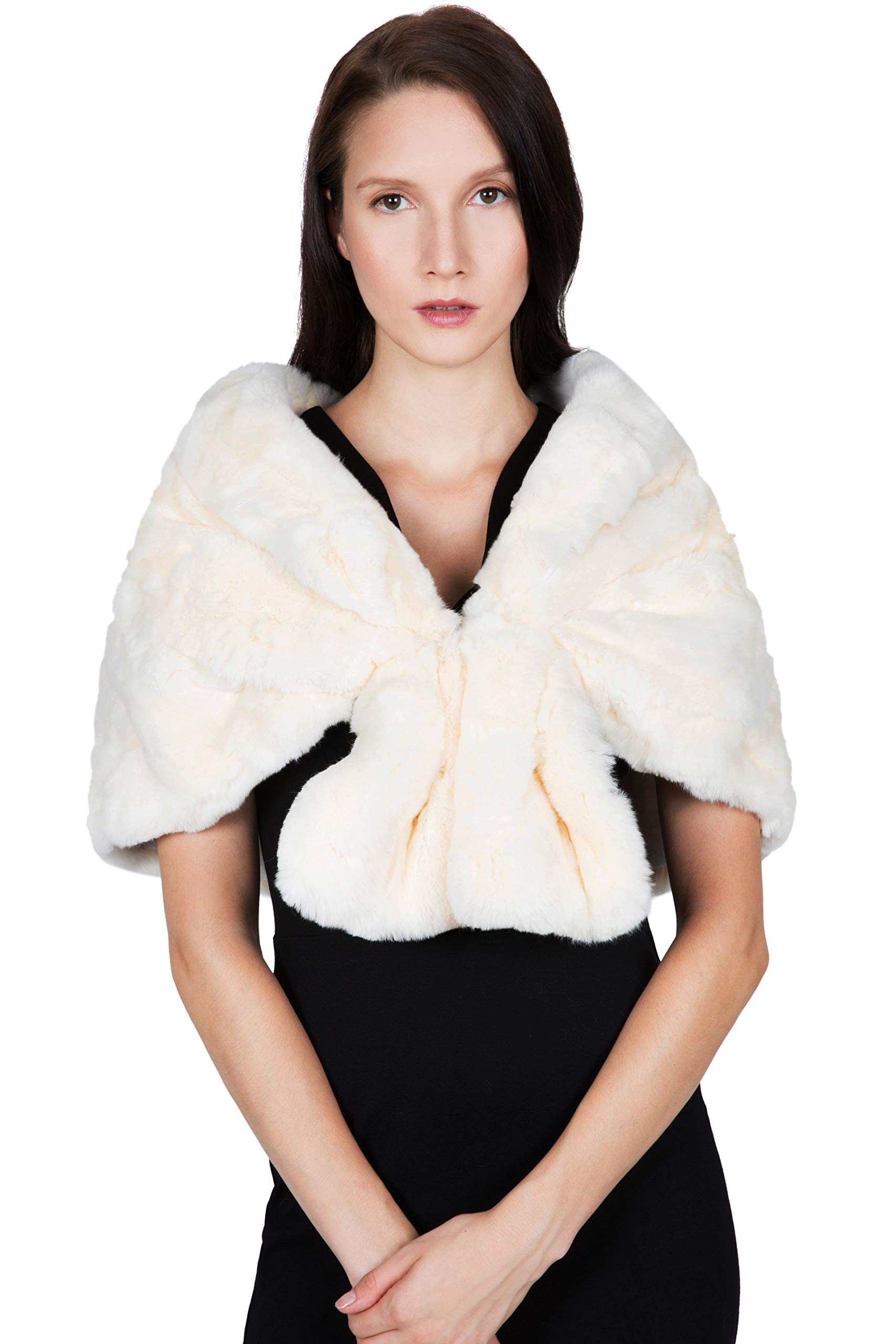 OBURLA Women's Rex Rabbit Fur Cape with Collar | Soft and Luxurious Real Fur Shawl Wrap Stole (Beige) by OBURLA (Image #1)