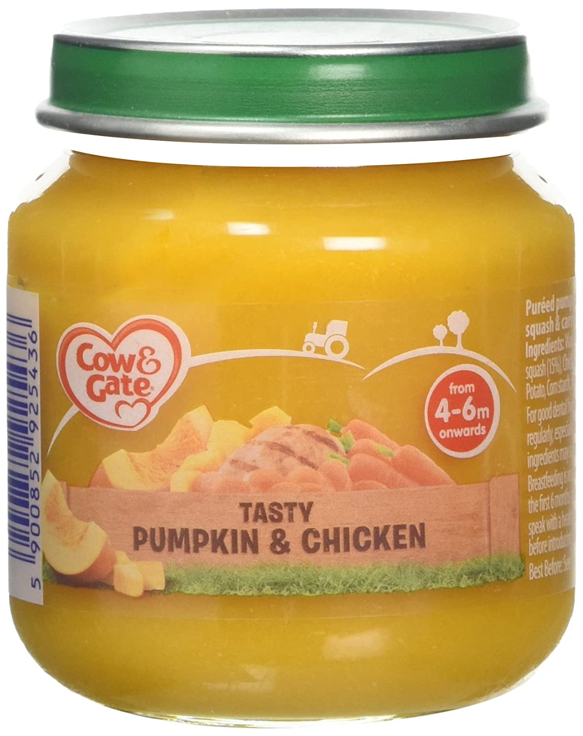 Cow & Gate Tasty Pumpkin and Chicken from 4-6 Months Onwards Baby Food Jar, 125 g 108150908