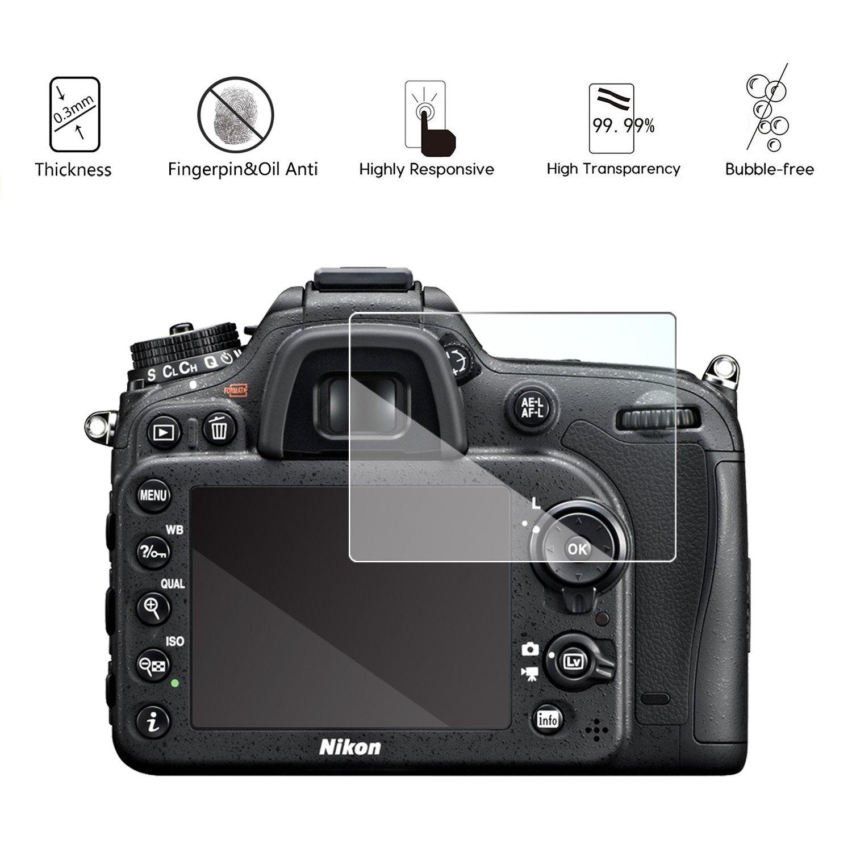 3 Pezzi Pellicola Vetro Temperato per Nikon D7100 D7200 D800 D800e D810 D750 D600 D610 D500 Pellicola Protettiva Akwox Durezza 9H Anti Graffi Vetro Protettivo
