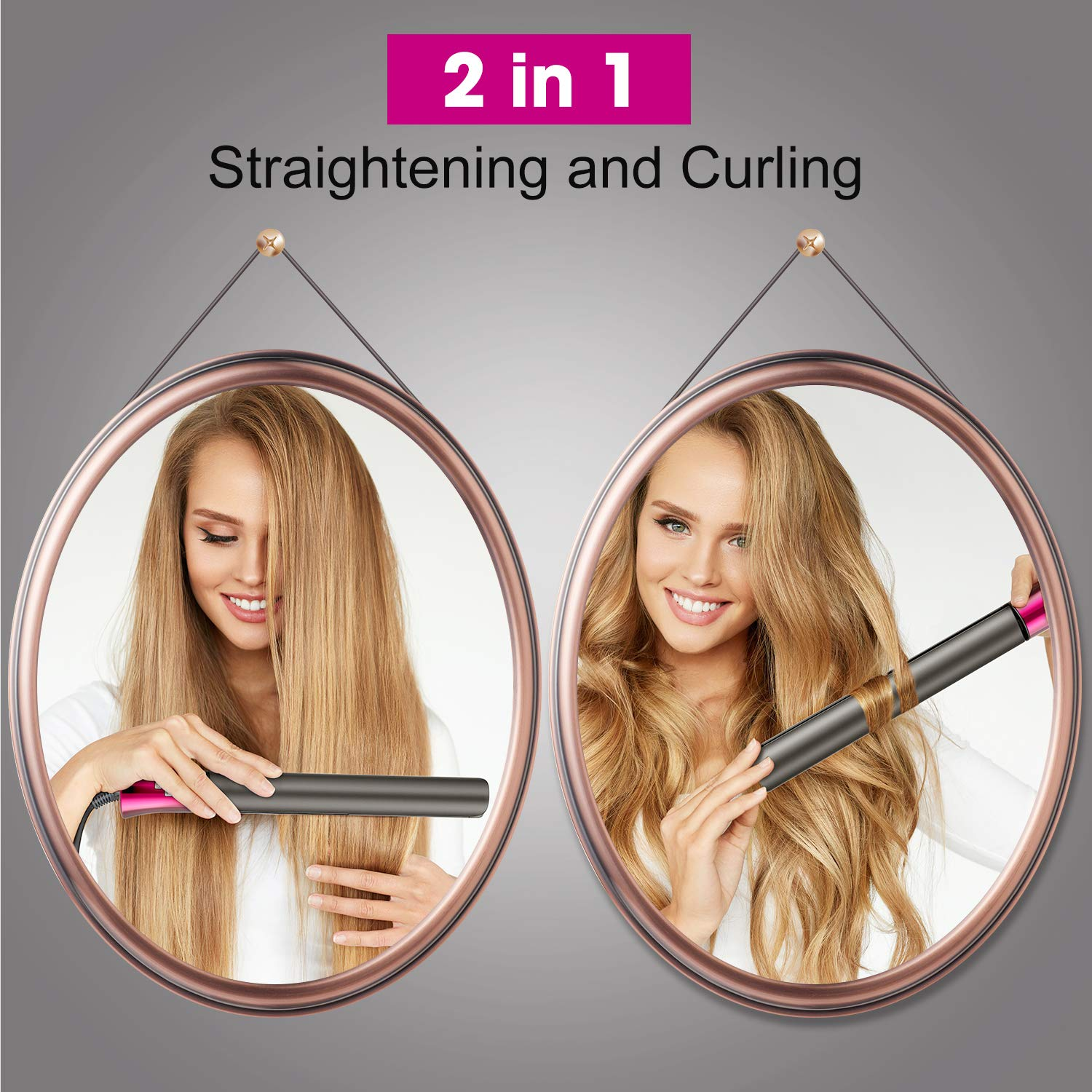 Flat Iron for Hair,GOOLEEN Professional Infrared Hair Straightener and Curler 2 in 1,1 Inch 3D Floating Titanium Plates Tourmaline Ceramic Hair Straightener with Dual Voltage LED Display 180-450