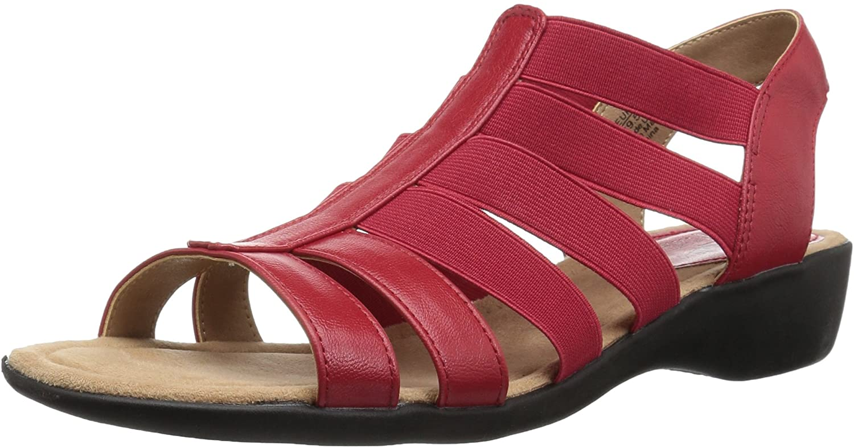 LifeStride Women's Toni Flat Sandal, red, 8 W US