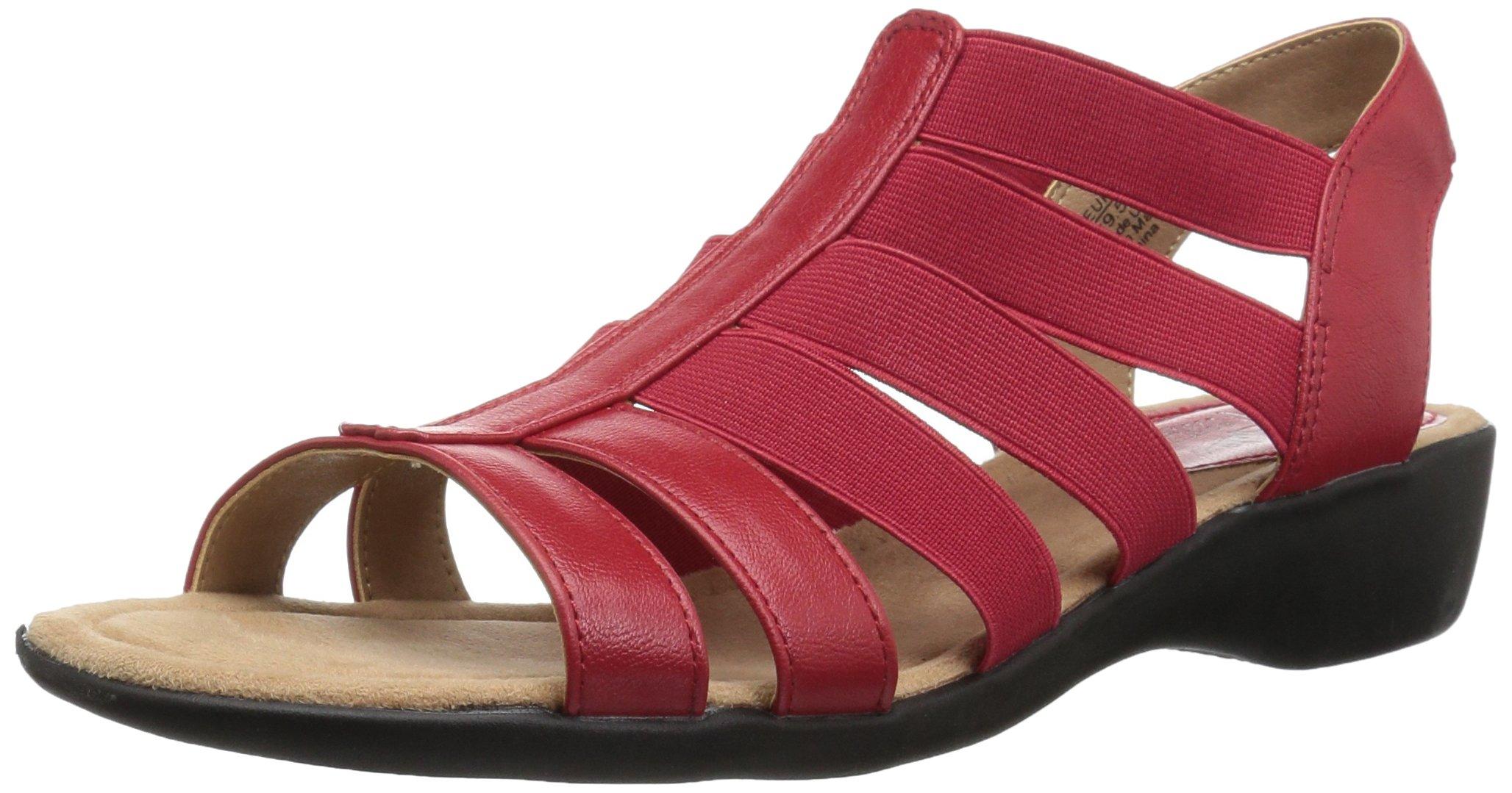 LifeStride Women's Toni Flat Sandal, red, 8 M US