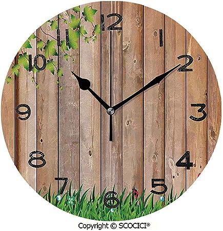 Reloj Redondo De Pared con Estampado, Jardín De La Temporada De Primavera Fresca con Mariposas Y Mariquitas En La Escena del Parque Obra Tranquila Reloj De Escritorio: Amazon.es: Hogar