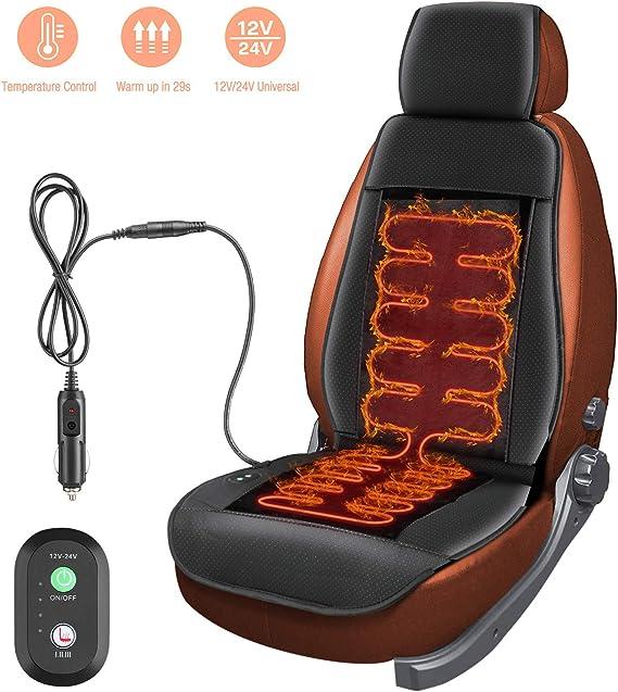 Furado 12v 24v Auto Sitzheizung Auflage Heizkissen Beheizte Sitzauflage Mit Zeit Temperatur Kontrolleur Universal Vordersitz Schwarz Lkw Für Auto Auto