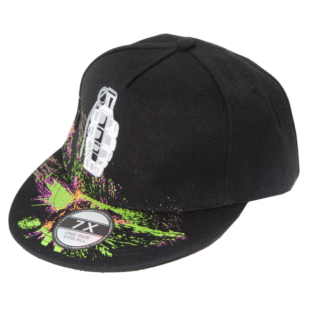 Accessoryo Men's Snapback Flatbill Cap with Grenade Splatter Design