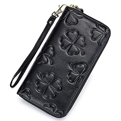 4d5101842413 DuoGaoTe Women's Genuine Leather Long Wallets RFID Blocking credit ...