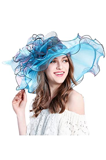 Women s Kentucky Derby Dress Hat Church Sun Hats Party British Blue One  Size at Amazon Women s Clothing store  916f0e29184
