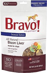 Bravo! Bonus Bites All Natural Freeze Dried Bison Liver Dog Treats - Grain & Gluten Free - 3 Ounce Bags