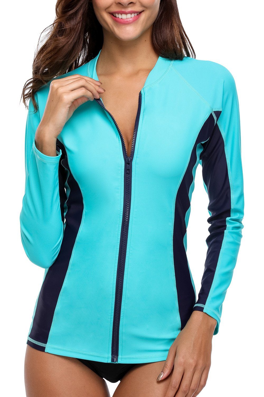 V for City Women's Long Sleeve Swimsuit Zipper Front Rash Guard UPF 50+ Rashguard UV Swim Shirt Aqua XL