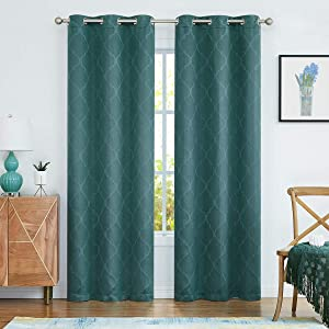 Variegatex Christmas Green Moderate Blackout Curtains for Bedroom 84 Inches Long, Room Darkening Window Panels for Living Room, Jacquard Moroccan Grommet Top Drapes, 38