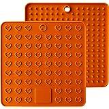 AINAAN 2 Pcs Square Premium Silicone Pot Holder,Trivets, Mitts,Heat Resistant Hot Pads, 7.28 Inch, Orange