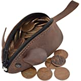 Rustic Leather Mouse Coin Purse Change Pouch Handmade by Hide & Drink :: Bourbon Brown