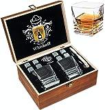 Juego de Regalo de Copas de Cristal Roca - Vaso Scotch con Base Fuerte - Caja de Regalo de Madera - Piedras de…