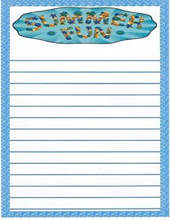amazon com kids camp summer fun lined stationery paper 26 sheets