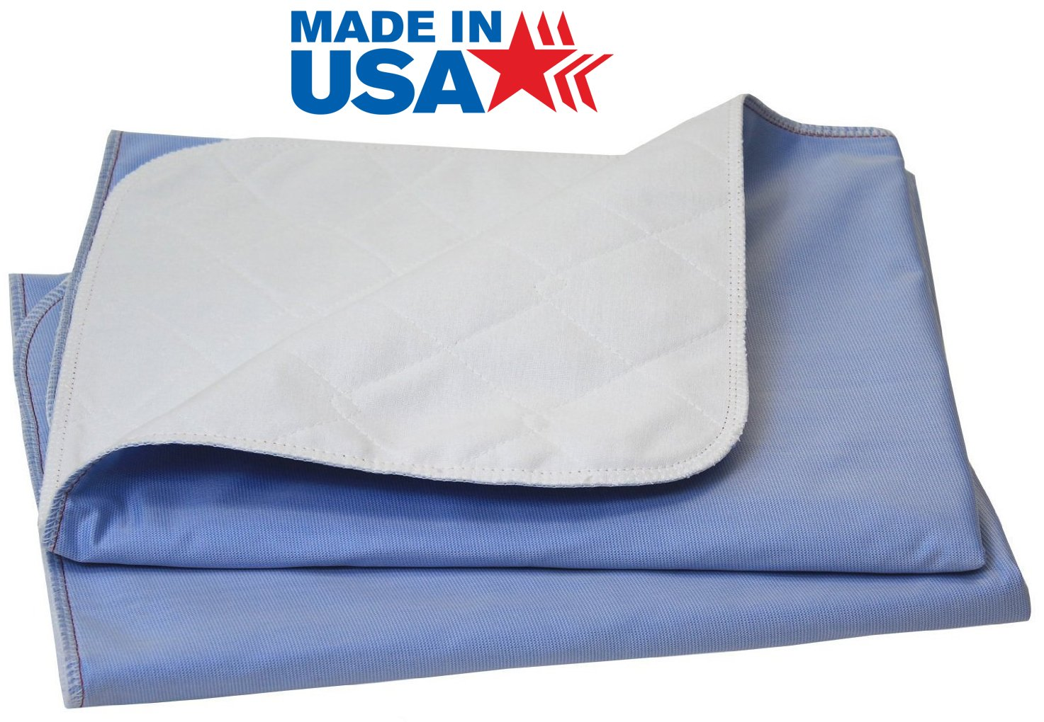 100% Cotton Big Size Washable Bed Pad / XXL Incontinence Underpad - 36 X 72 - Mattress Protector - Blue