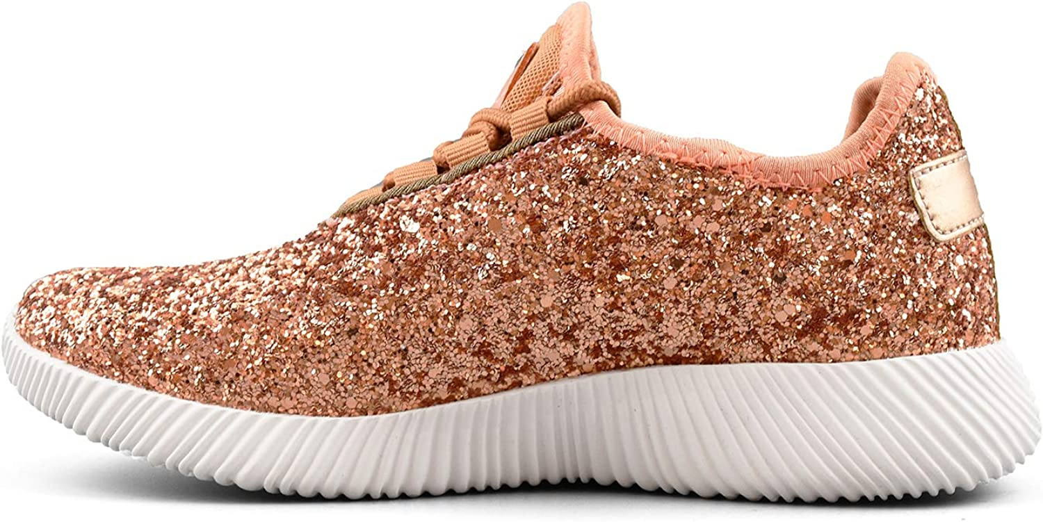 Comfy Moda Womens Glitter Sneakers Breathable Lace-up Lightweight Sparkly Running Shoes Pretty