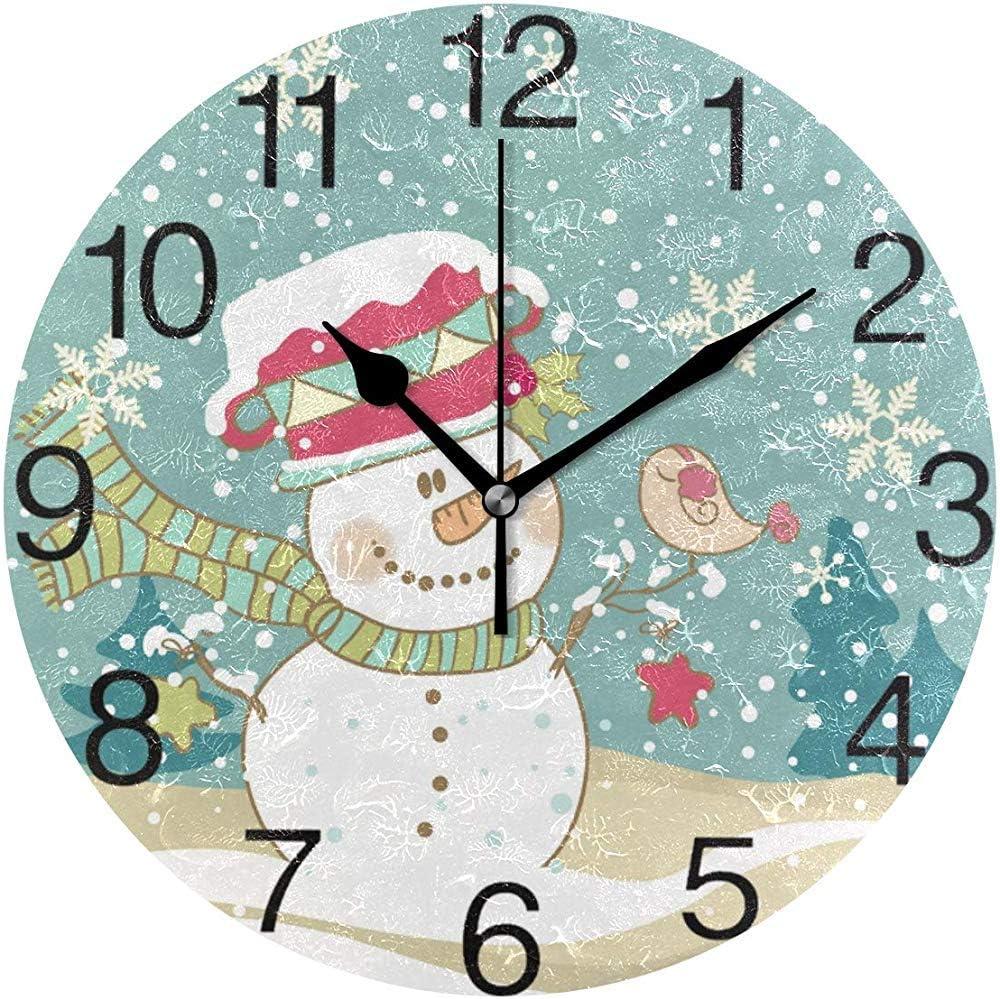 Hao-shop Reloj de Pared Redondo con diseño de muñeco de Nieve y ...