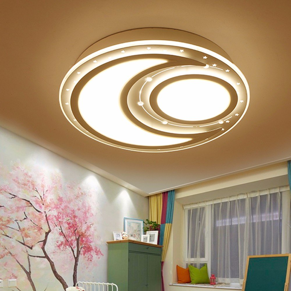XHOPOS HOME Children'S Room Lights LED Ceiling Light Stars Moon Creative Round Boys Girls Bedroom White 40Cm 24W Dimmable