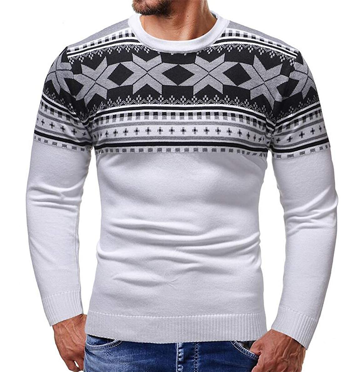 CRYYU Men Long Sleeve Crewneck Slim Pullover Christmas Knitted Sweater