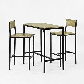 SoBuy OGT03 Ensemble table de bar + 2 chaises, Set de 1 Table + 2 Chaises, Table haute cuisine