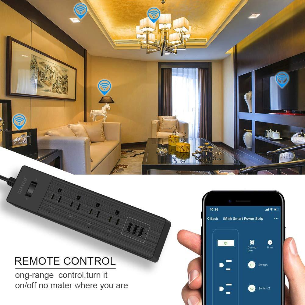 WiFi Smart Power Strip,Multiple Outlet Surge Protector USB Bar,with 3 USB Ports 4 Smart Outlets Overload Switch and 6FT UL Cord, Remote Control, Compatible with Alexa Echo, Google Home and IFTTT