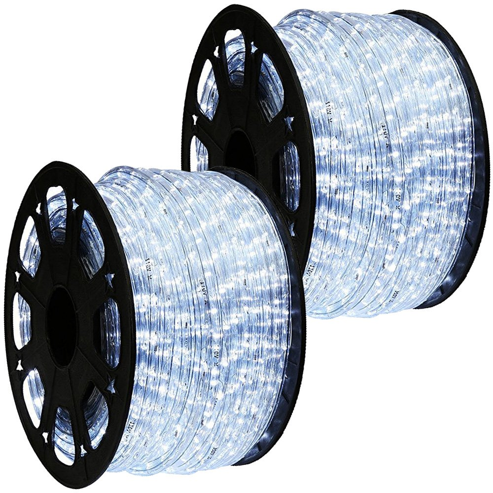 WYZworks 300' feet Cool White 3/8'' LED Rope Lights - Crystal Clear PVC Tube IP65 Water Resistant Flexible 2 Wire Accent Holiday Christmas Party Decoration Lighting by WYZworks (Image #2)