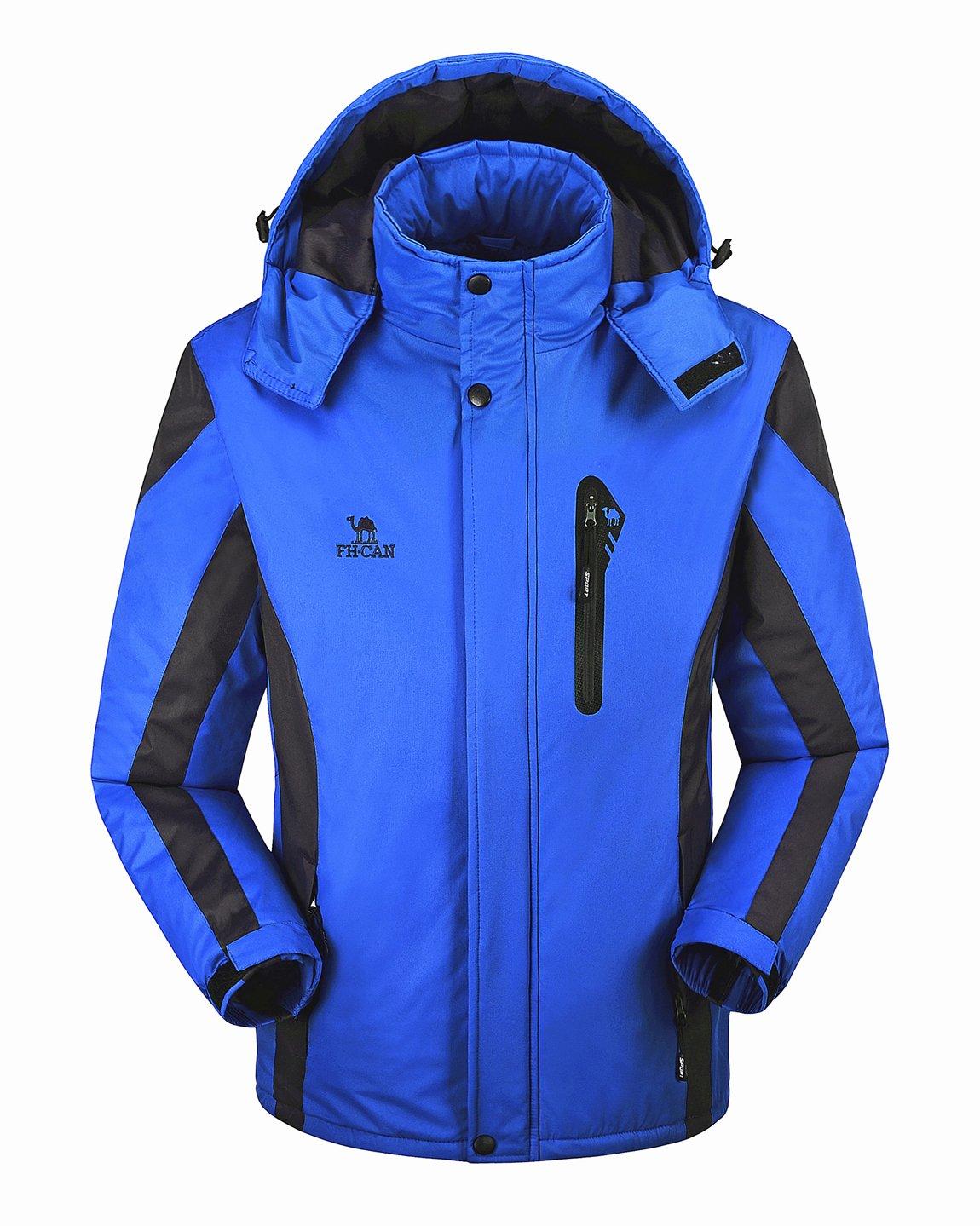 No.66 Town Men's Women's Watertight Windproof Ski Hooded Fleece Jacket Coat caifu