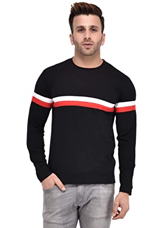 64a968cf8af05e COCINA White and Red Striped Men's Regular Fit Crew Neck Full Sleeve T-Shirt:  Amazon.in: Clothing & Accessories