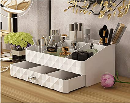 Cosmetic Organizer Tray In White Makeup Holder Display Storage Box With  Jewelry Drawer For Bathroom Vanity