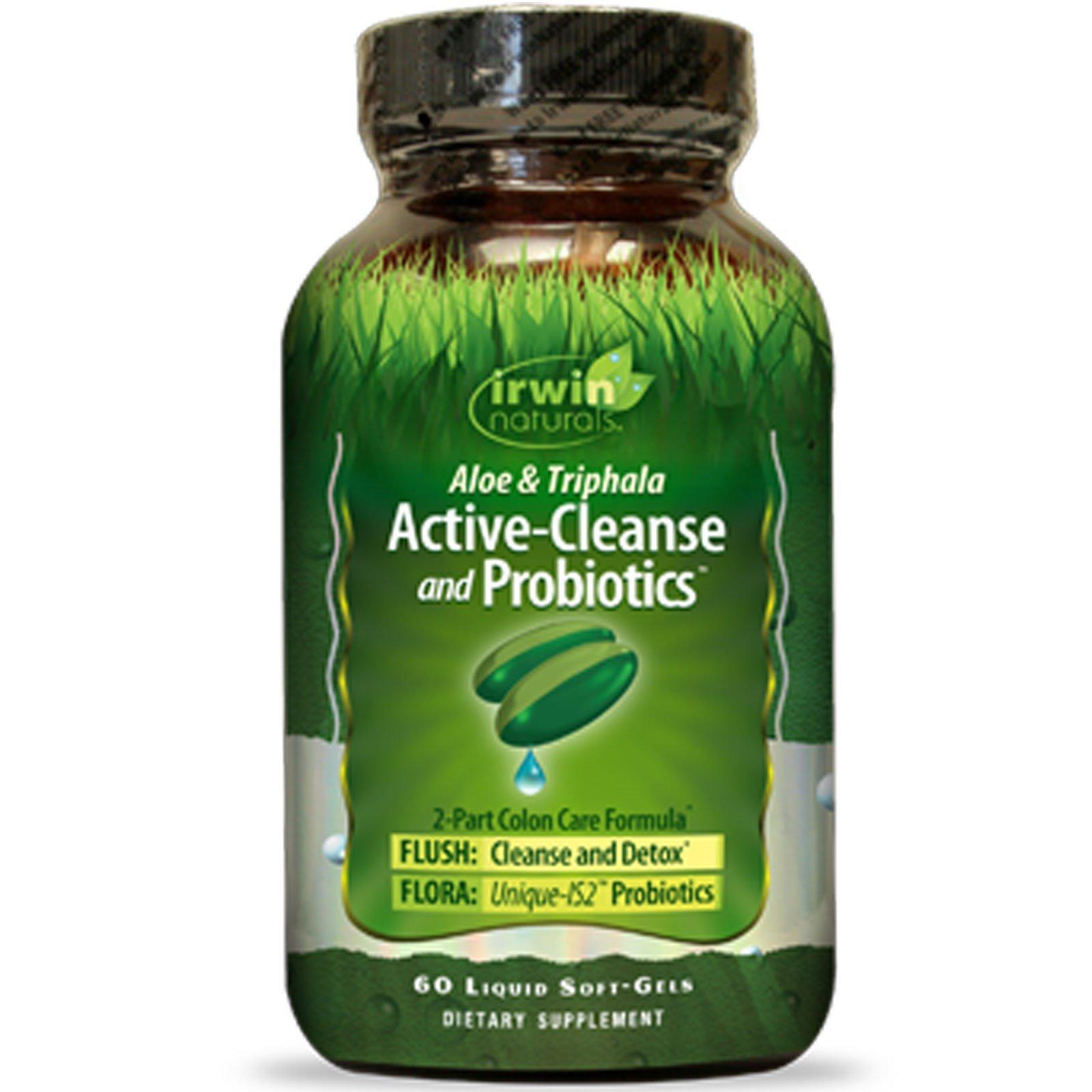 Aloe and Triphala Active-Cleanse and Probiotics by Irwin Naturals, 2-Part Colon Care Formula Detox, 60 Liquid Soft-Gels, 2 Pack