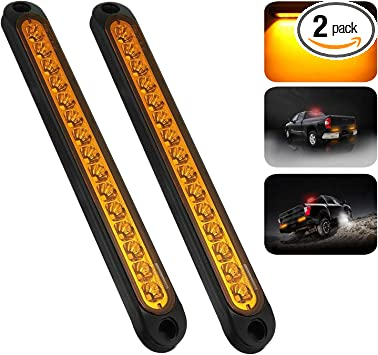 "2PCS Amber 11LED 15/"" Turn Signal Marker light Tailer Light Waterproof for Truck"