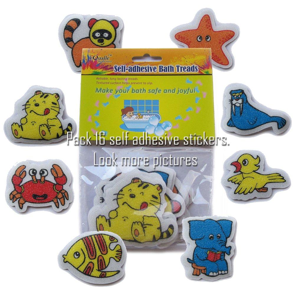 eQualle Non Slip Bathtub Stickers Colorful for Kids - Slip Resistant 【pack of 16】 SlipStop
