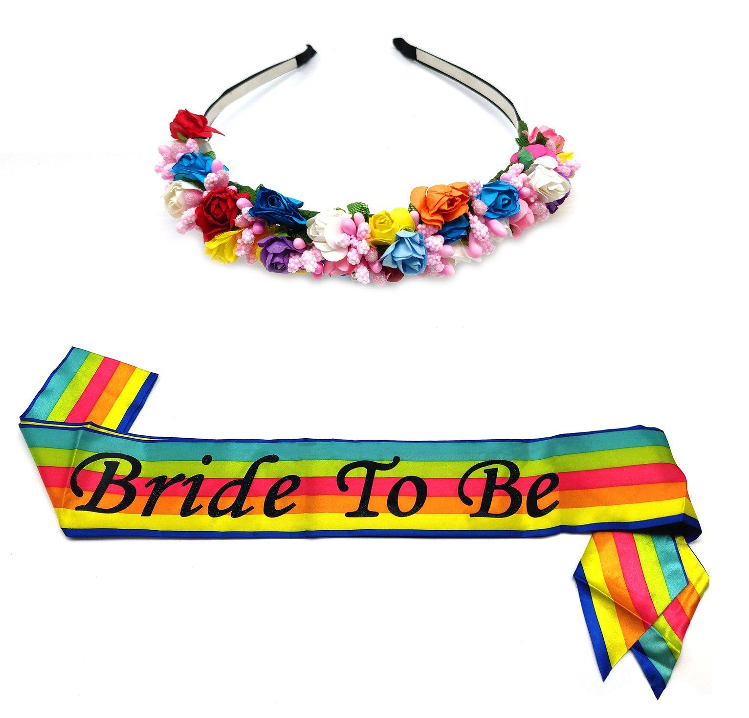 SEWEI Bride to Be Sash Rainbow Flower Headband Bachelorette Bride Tribe Bridal Shower Wedding Party favor Supplies (Colour)