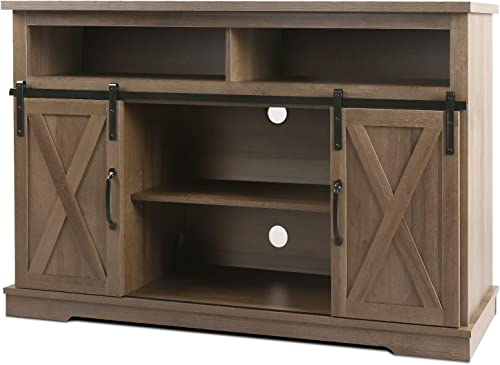 WLIVE Vintage Sliding Barn Door TV Stand, Home Entertainment Center Fits TVs up to 60 , Rustic Media Console with Large Storage for Living Room, Bedroom, Kitchen, Grey Oak